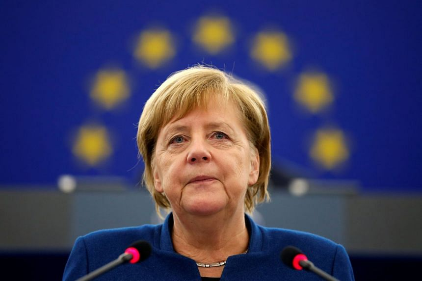 Angela Merkel addressing the European Parliament during a debate on the future of Europe, Nov 11, 2018.