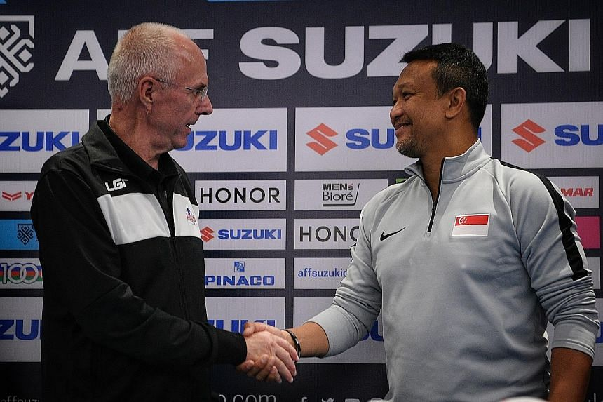 Philippines head coach Sven-Goran Eriksson with Singapore interim coach Fandi Ahmad at yesterday's press conference. The Swede says his team will have to play very well to beat the Lions.