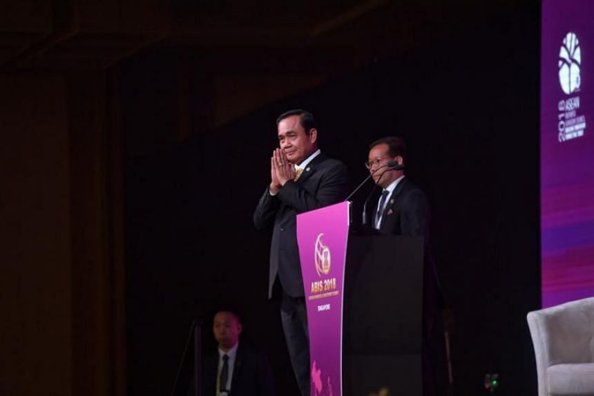 Thailand Prime Minister Prayut Chan-o-cha delivering his keynote speech at the Asean Business and Investment Summit 2018 on Nov 13, 2018.