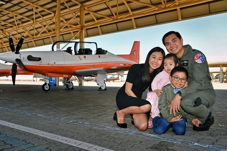 Captain Alvin Leow with his wife and their two children. The Republic of Singapore Air Force officer had to persuade his wife to take a two-year break from her bank job to relocate to Perth.