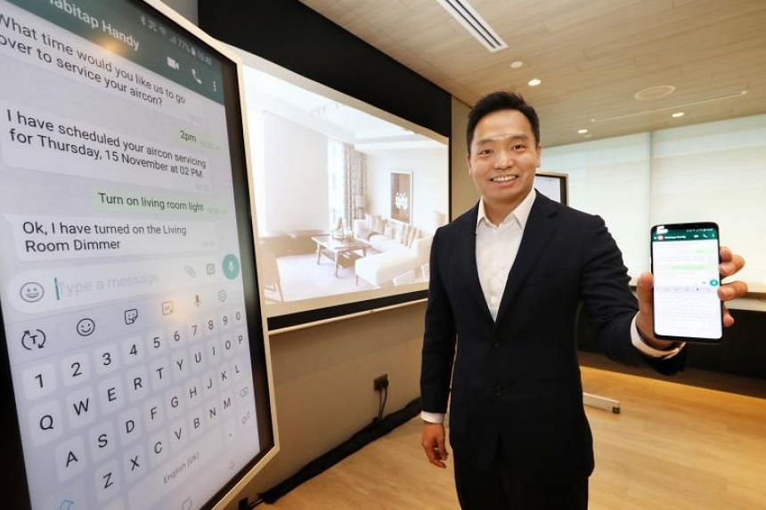 Habitap CEO and founder Franklin Tang demonstrating the features of Habitap Handy, an AI-powered assistant that can accept instructions via WhatsApp to perform tasks for a smart home powered by Habitap's digital living platform.