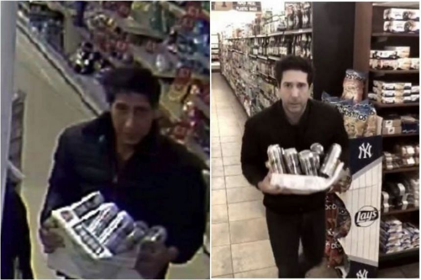 An appeal for information on the suspect was first put up on the Blackpool police's Facebook page, with a surveillance camera still of the man (left), who is the spitting image of Schwimmer (right).