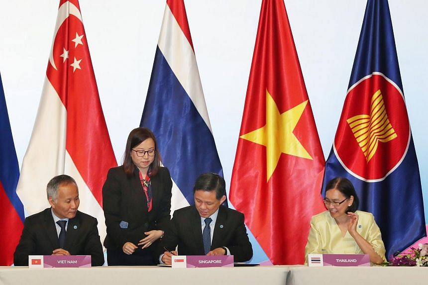 The pact was signed ahead of the Asean Economic Community Council meeting on Nov 12, 2018.
