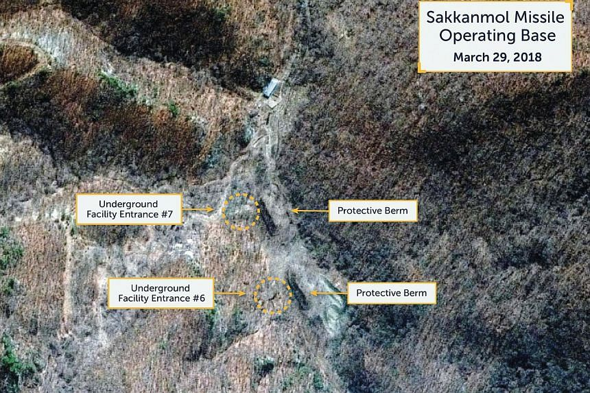 A Digital Globe satellite image taken on March 29, 2018 shows what the Washington, DC-based Center for Strategic and International Studies Beyond Parallel project reports is an undeclared missile operating base at Sakkanmol, North Korea.