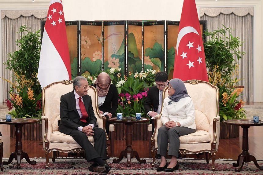 Malaysia Prime Minister Mahathir Mohamad calls on President Halimah Yacob at the Istana on Nov 12, 2018.