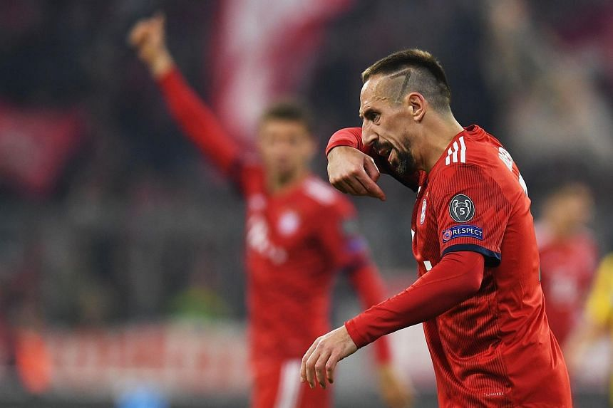 Bayern Munich's French midfielder Franck Ribery reacts during the UEFA Champions League Group E football match in Munich, on Nov 7, 2018.