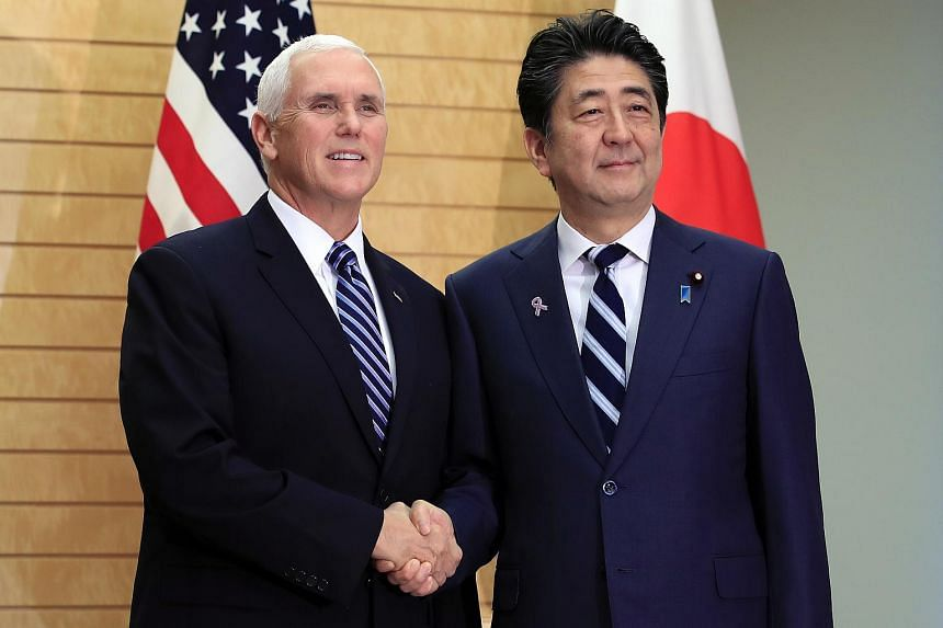 US Vice President Mike Pence (left) with Japanese Prime Minister Shinzo Abe at the Prime Minister's official residence in Tokyo, Japan on 13 Nov, 2018.