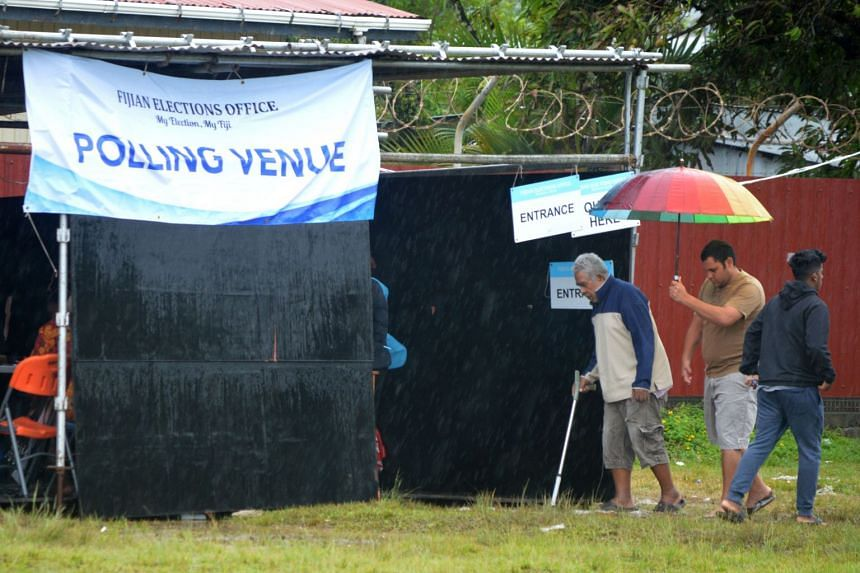 People arrive to vote in the general election in Suva, on Nov 14, 2018.
