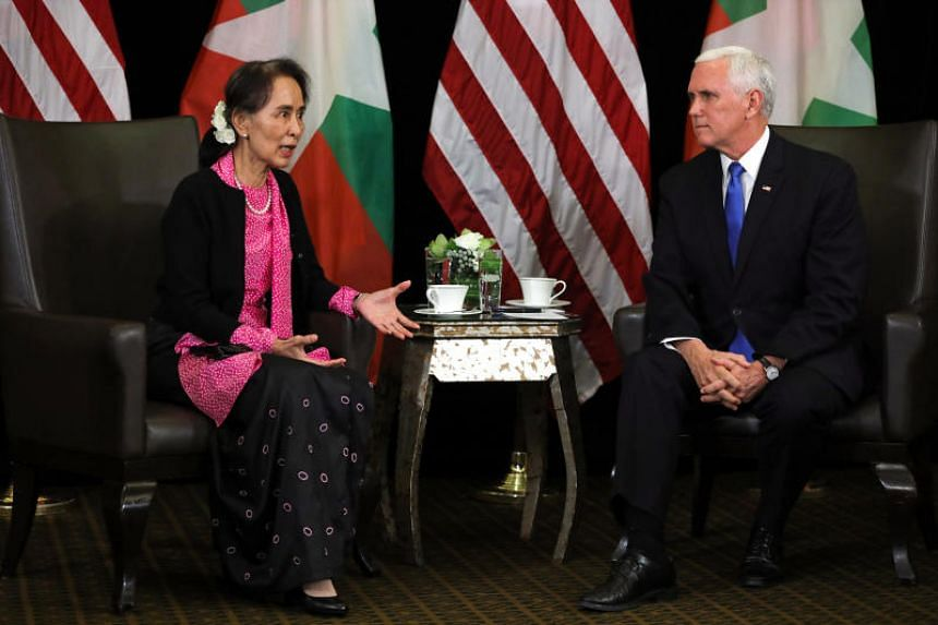 US Vice-President Mike Pence told Myanmar leader Aung San Suu Kyi on the sidelines of the Asean Summit in Singapore that the US was anxious to hear of progress in holding people accountable for the Rohingya crisis.