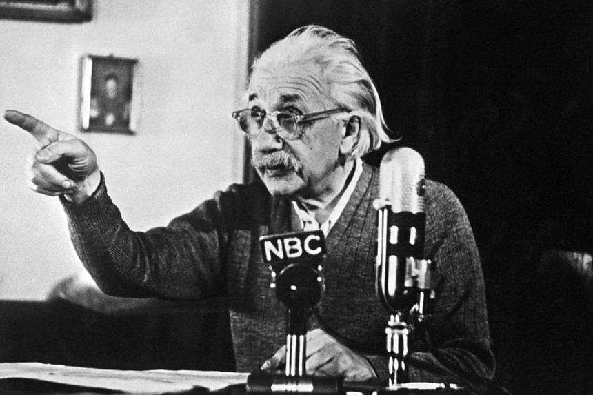 "Albert Einstein declaring his opposition to the ""H"" bomb in a 1950 TV broadcast."