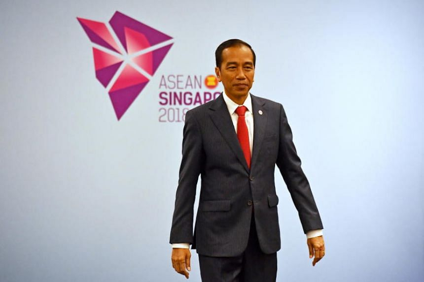 Indonesia's President Joko Widodo at a bilateral meeting during the 2018 Asean Summit in Singapore, on Nov 14, 2018.
