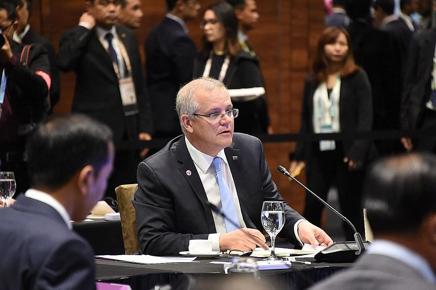 Australian Prime Minister Scott Morrison delivering his opening remarks yesterday at the Asean-Australia informal breakfast summit.