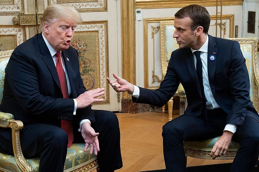 US President Donald Trump meeting French President Emmanuel Macron on Saturday, before the World War I Armistice Day centenary commemoration on Sunday. Mr Trump has attacked Mr Macron over several issues.