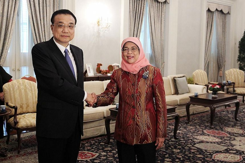 Chinese Premier Li Keqiang, who is on an official visit to Singapore, met President Halimah Yacob yesterday. In a joint statement, Singapore and China said they would build on the foundations laid by past generations of leaders from both sides and ma