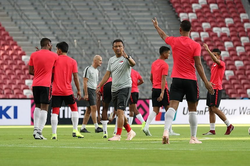 Fandi Ahmad taking training at the National Stadium last Thursday before their opening AFF Cup match. The team require a big win against Timor-Leste next Wednesday as goal difference may well decide which teams from Group B will qualify for the semi-