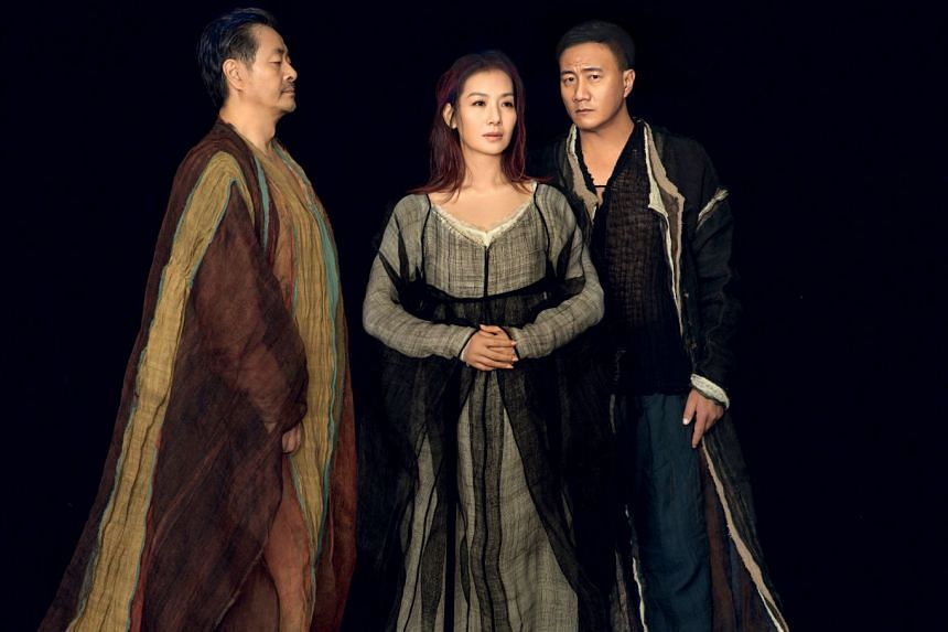 (From left) Pu Cunxin, Lu Fang and Hu Jun star in The Tragedy of Hamlet, Prince of Denmark. The show will be staged at Huayi - Chinese Festival of Arts 2019.