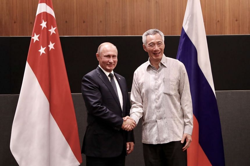 Prime Minister Lee Hsien Loong and President Vladimir Putin meeting as part of Mr Putin's State Visit to Singapore.