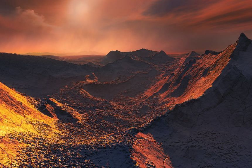 An artist's impression of the view from the surface of a planet orbiting Barnard's Star.