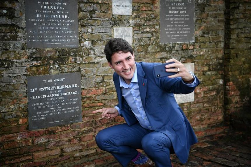 Canadian Prime Minister Justin Trudeau visiting the memorial plaque of his great-great-great-great-grandmother Esther Farquhar Bernard at Fort Canning Park on Nov 15, 2018.