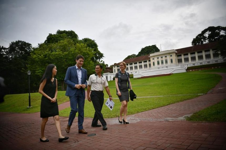 Canadian Prime Minister Justin Trudeau at Fort Canning Park on Nov 15, 2018, to visit the memorial plaque of his great-great-great-great-grandmother Esther Farquhar Bernard.