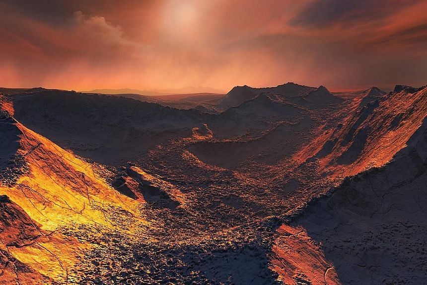 An artist's impression of the surface of a Super-Earth planet that has been discovered orbiting the closest single star to our solar system, in a handout picture released by the European Southern Observatory.