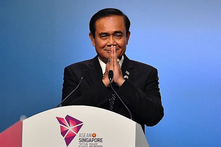 Thai Prime Minister Prayut Chan-o-cha at the closing ceremony of the 33rd Asean Summit yesterday, where he unveiled the theme of Thailand's chairmanship of Asean: Advancing Partnership for Sustainability. World leaders and heads of state at the 13th