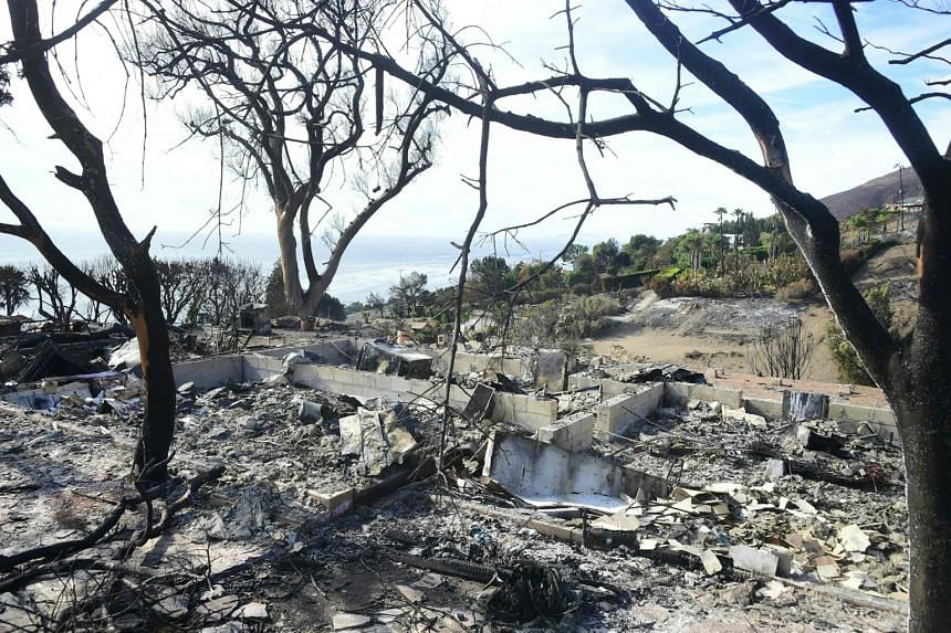 The remains of house destroyed by the Woolsey Fire in Malibu, California, on Nov 15, 2018.