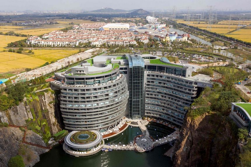 This aerial picture shows the InterContinental Shanghai Wonderland, built in a disused quarry.