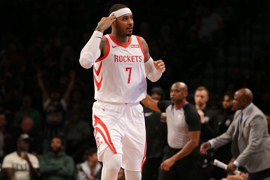 Houston Rockets' Carmelo Anthony appeared in 10 games this season.