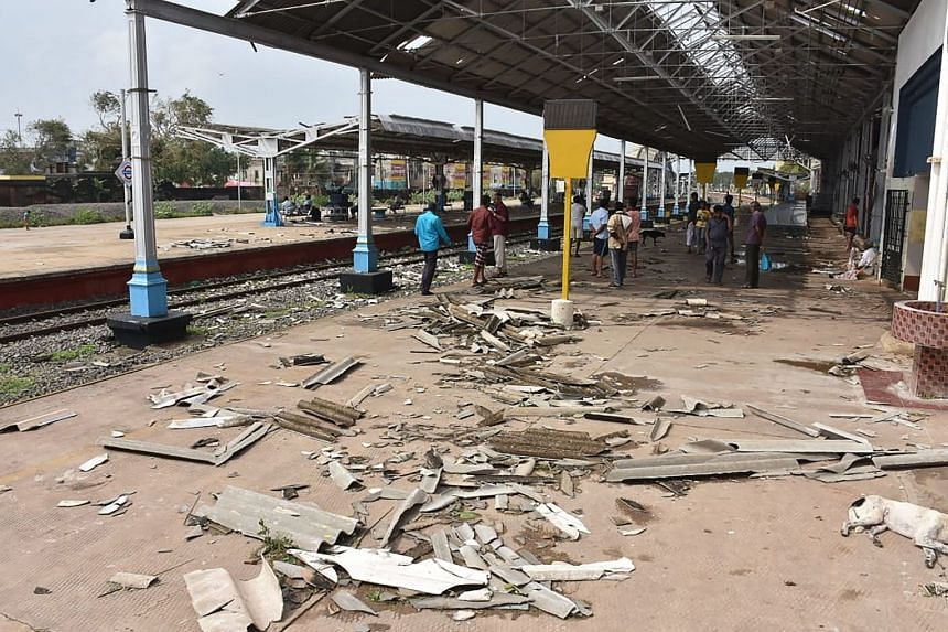 Debris from a damaged roof seen on a platform at a train station in Nagapattinam in India's southern Tamil Nadu state after a cyclone struck the region on Nov 16, 2018.