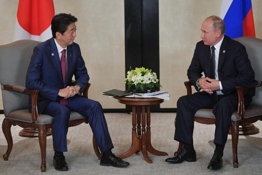 Russian President Vladimir Putin (right) and Japanese Prime Minister Shinzo Abe had agreed to speed up talks based on the 1956 joint declaration.