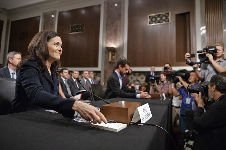 Ms Sheryl Sandberg, Facebook's chief operating officer, and Mr Jack Dorsey, the chief executive of Twitter, during a Senate Intelligence Committee hearing on Capitol Hill in Washington in September. For years, Facebook struck deals that gave device m