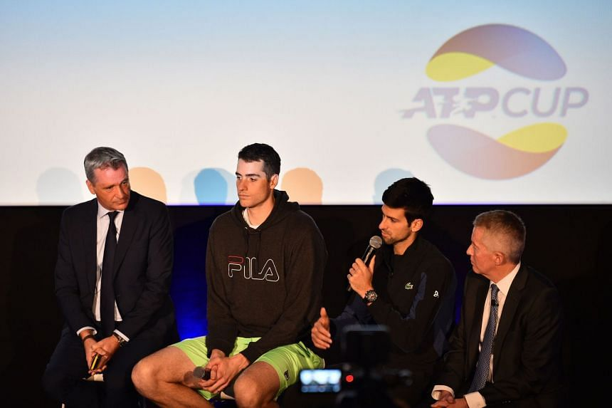 (From left) ATP president Chris Kermode, US player John Isner and Djokovic speak at the ATP cup launch.
