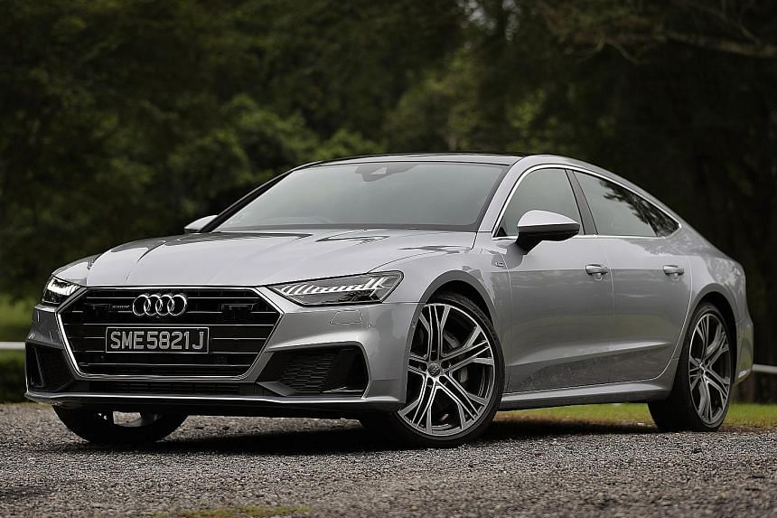 The A7 Sportback's chassis is well-balanced, and its steering response is quick and sharp for a car of its size.