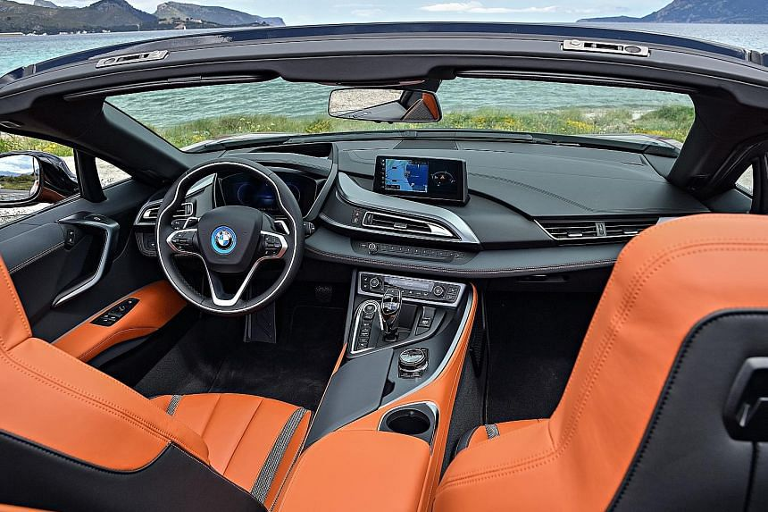 The BMW i8 Roadster can go up to 105kmh on pure electric energy.