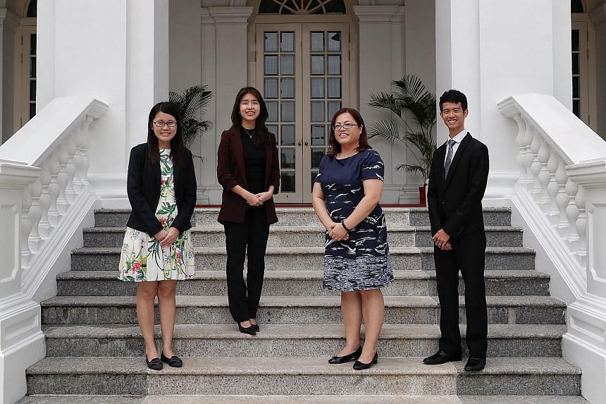 Outstanding Social Worker Award winner Melissa Chew (third from left) with Promising Social Worker Award recipients (from left) Tay Yu Ping, from the Movement for the Intellectually Disabled of Singapore; Zoe Tee, from the Ministry of Social and Fami