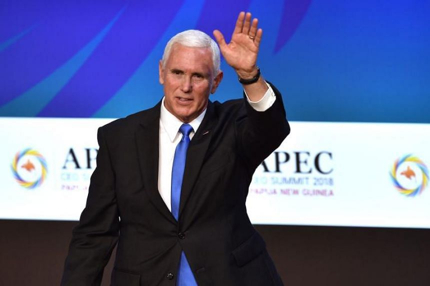 US Vice-President Mike Pence at the Apec summit on Nov 17, 2018. He said that the US would join forces with Australia and Papua New Guinea on the naval base project.
