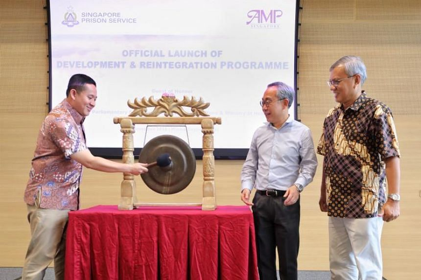 The Development and Reintegration Programme was launched on Nov 17, 2018, by (from left) Senior Parliamentary Secretary for Home Affairs Amrin Amin, Commissioner of Prisons Desmond Chin and the Association of Muslim Professionals' executive director