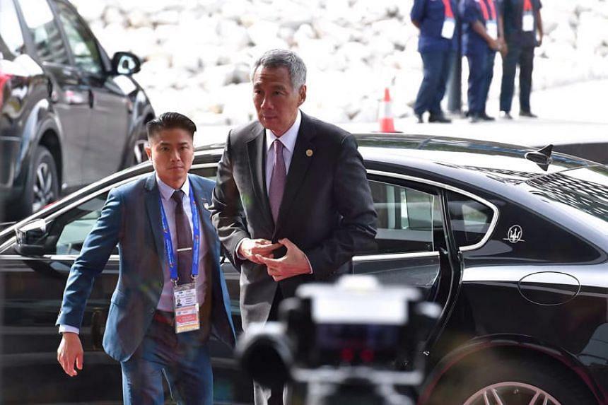 Prime Minister Lee Hsien Loong arrives at Apec Haus in Port Moresby on Nov 17, 2018.
