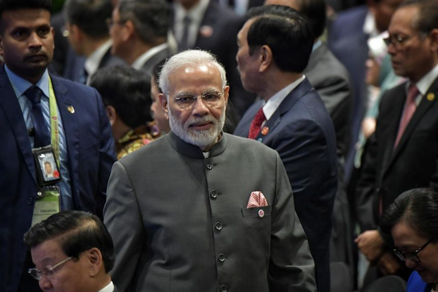 Indian Prime Minister Narendra Modi at the Asean Summit in Singapore on Nov 15, 2018. His visit to the Maldives will be the first by an Indian head of government since 2011.