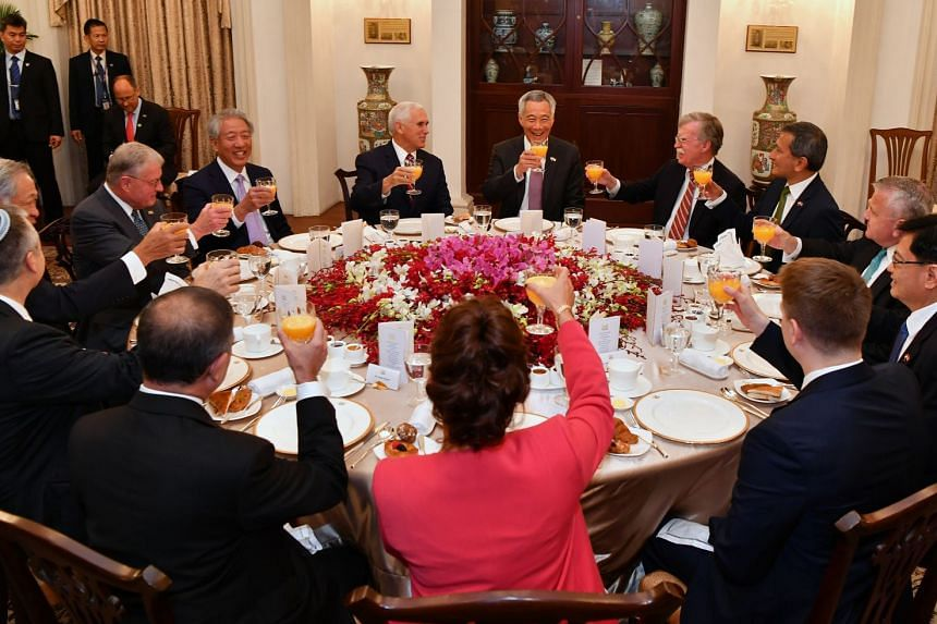 (Clockwise, from top) Prime Minister Lee Hsien Loong, US National Security Adviser John Bolton, Foreign Minister Vivian Balakrishnan, US Deputy Secretary of State John Sullivan, Finance Minister Heng Swee Keat, US National Security Council Senior Dir