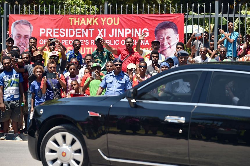 Chinese President Xi Jinping's motorcade in Port Moresby, Papua New Guinea, where he is attending the Apec Summit.