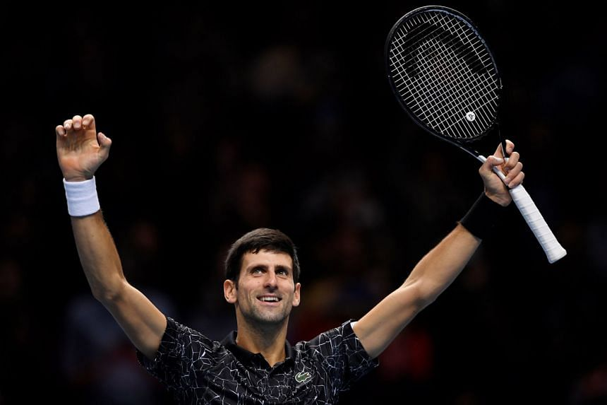 Djokovic celebrates winning his semi-final match against South Africa's Kevin Anderson.