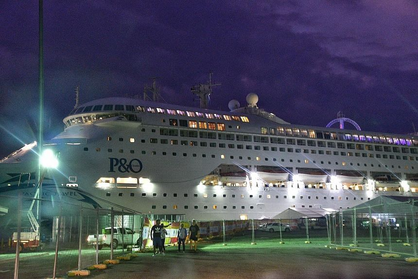 The 245m Pacific Jewel, which houses mainly journalists, has 14 decks and berths for nearly 1,700 people and is moored offshore at Port Moresby.
