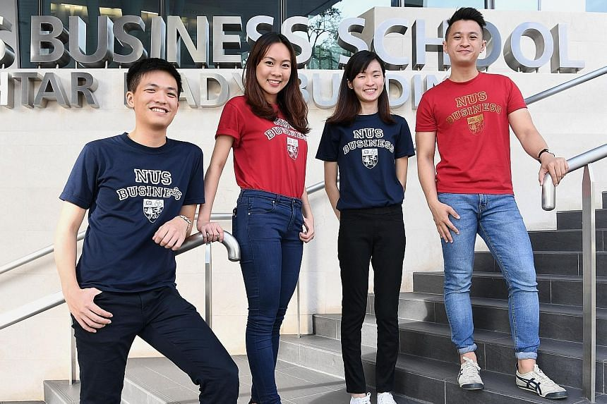 The winning team, comprising NUS Business School students (from far left) Henry Wat, Germaine Tyo, Joey Ho and Oh Chin Keong, proposed to increase the levels of sustainability investing by partnering key opinion leaders and universities to change min