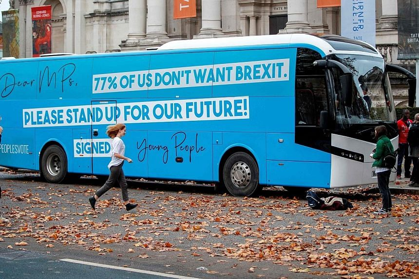 "Young, pro-European Union, anti-Brexit campaigners in Britain taking their message on the road across London yesterday, as part of their ""Stand Up For Our Future!"" campaign."