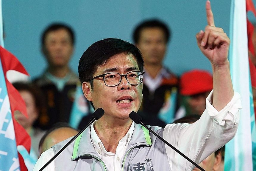 """Mr Chen Chi-mai speaking at a rally in Kaohsiung earlier this month. The man nicknamed """"Mr Quick"""", after his pet phrase in Parliament, has a solid track record and is said to have displayed the strongest grasp of Kaohsiung matters."""