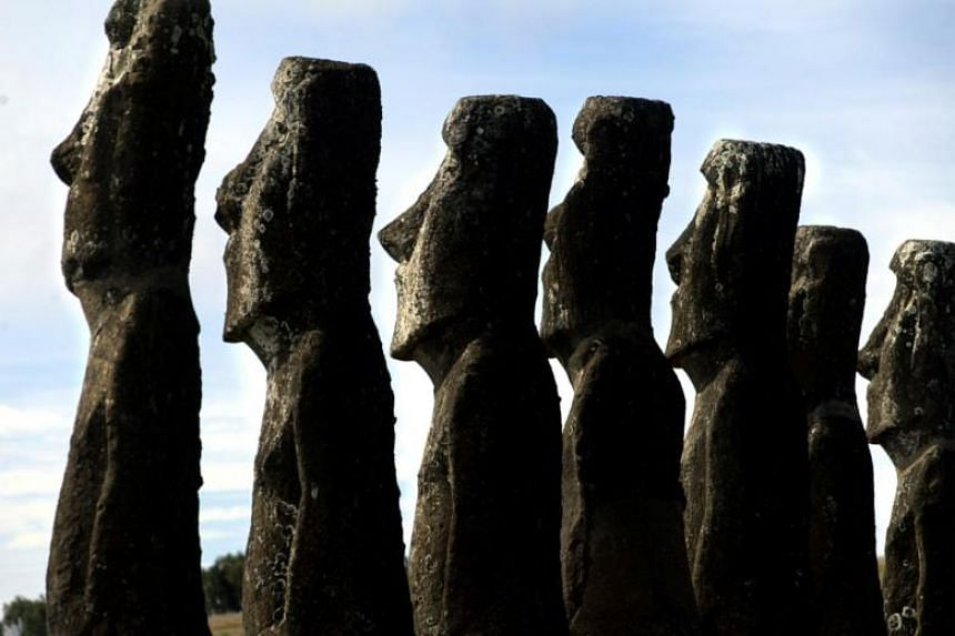 A view of Moai statues in Ahu Akivi, on Easter Island.