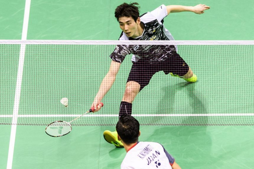 South Korea's Son Wan-ho stretching for a net return against Japan's Kenta Nishimoto in their men's singles final at the Hong Kong Open on Nov 18, 2018. It was his first tournament win in nearly two years.