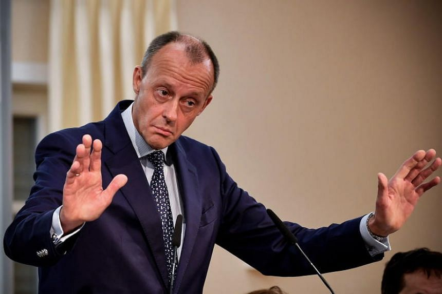 German businessman Friedrich Merz at a conference in Arnsberg, Germany on Nov 10, 2018. He chairs the German arm of US fund BlackRock, works for US law firm Mayer Brown, and serves on the boards of numerous companies.
